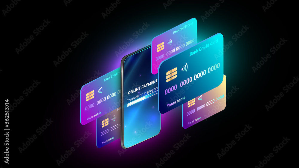 Fototapeta Smartphone payment technology. Isometric mobile phone and internet banking.