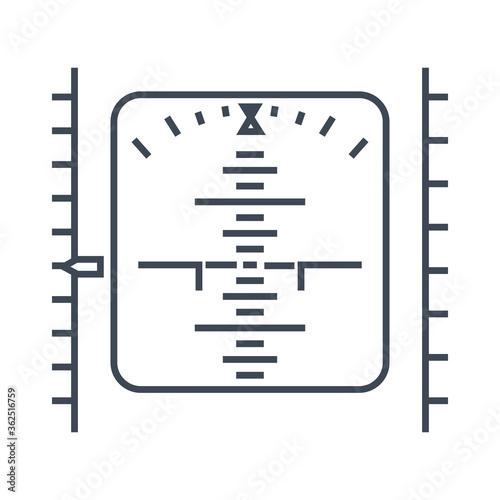 Photo Thin line icon airplane navigation equipment, display, altimeter