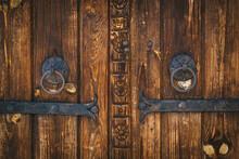 Old Wooden Rural Door With Met...