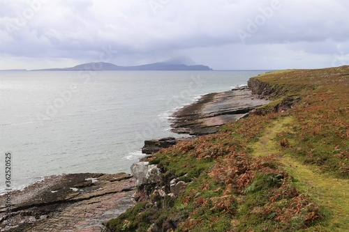 Canvastavla Clare Island in Clew Bay from the Spanish Armada Viewpoint on the Wild Atlantic Way, County Mayo, Ireland