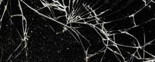 White Cracks On A Black Glass ...