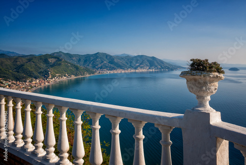 Panoramic view from the hill of the Ligurian coast with the cities of Laigueglia Wallpaper Mural
