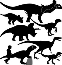 Dinosaur And Kid Silhouette Ve...