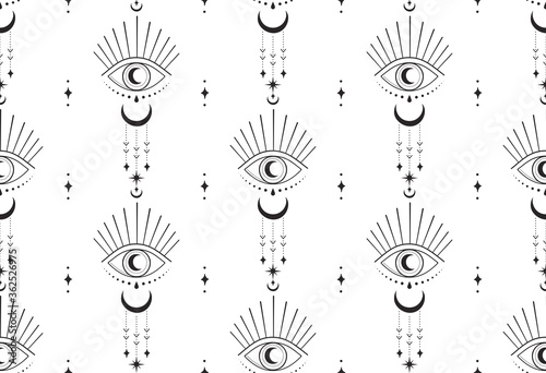 Leinwand Poster abstract hand drawn moon eye seamless pattern packaging design