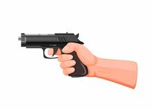 Hand Holding Gun Aiming Ready ...