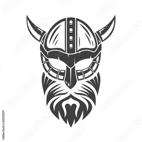 Papel de parede Head of bearded viking in helmet with horns