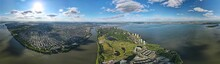 Panorama Of An Aerial Landscape View Of Saint Lawrence River And The Montreal City In Canada
