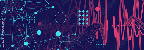 Photo Vector abstract background with a wireframe dynamic pipes, line and particles