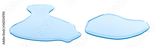 Fotografia real image,spilled water drop on the floor isolated on white background