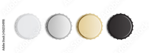 Fototapeta white, golden, silver and black bottle caps isolated on white background mock up