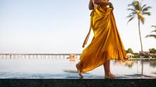 Woman Walking Near A Swimming ...