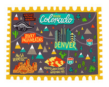 Illustrated Map Of  Colorado, USA. Travel And Attractions. Souvenir Print