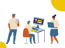 Tiny Business People Working Together Flat  Vector Illustration