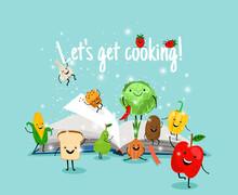 Cooking Book. Cartoon Vegetabl...
