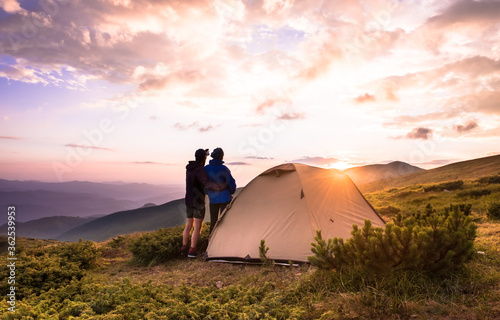 Camping and couple on the top of high mountains Tatry Canvas Print