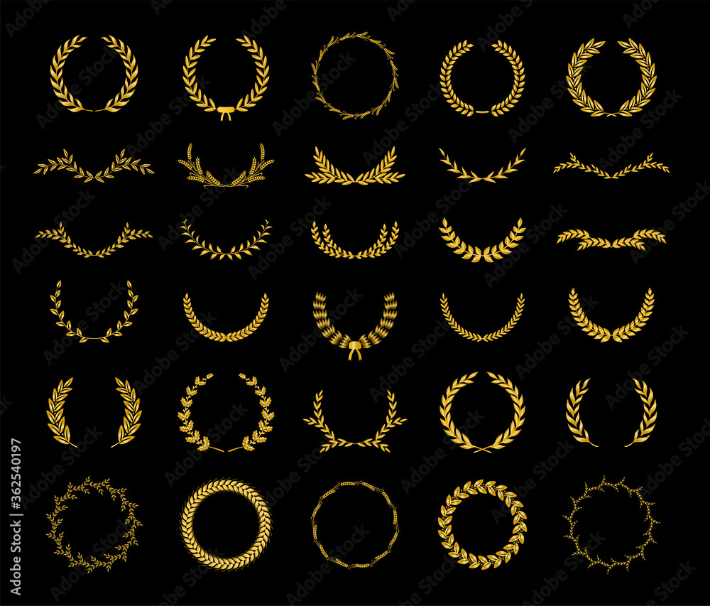 Fototapeta Collection of different golden silhouette laurel foliate, wheat and olive wreaths depicting an award, achievement, heraldry, nobility, game dev. Vector illustration.