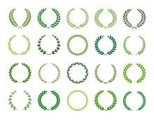 Set Of Green Silhouette Laurel...
