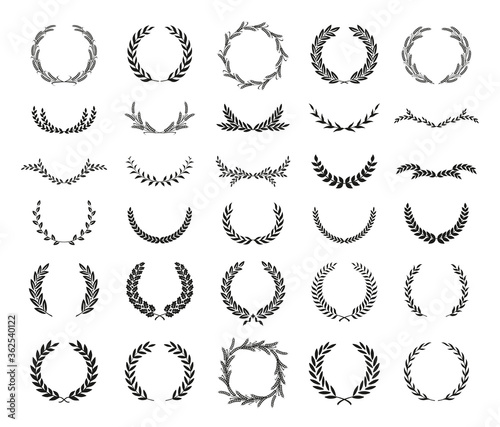 Valokuva Collection of different black and white silhouette circular laurel foliate, wheat and oak wreaths depicting an award, achievement, heraldry, nobility