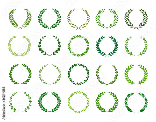 Obraz na plátne Set of green silhouette laurel foliate, wheat and olive wreaths depicting an award, achievement, heraldry, nobility