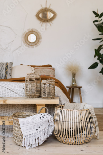 Cozy apartment in boho chic style interior with comfort bedroom Fototapete