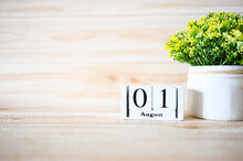 01 August Wooden Calendar With...