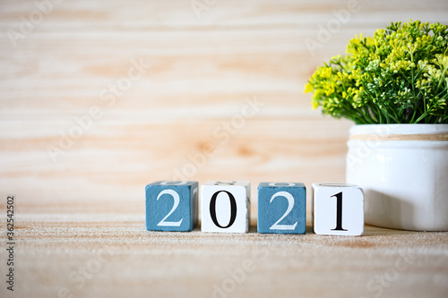 2021 text Numbers with Concept  Start New Year 2021 фототапет