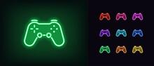 Neon Game Controller Icon. Neon Joystick Sign