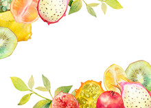 Watercolor Card. Exotic Fruits...