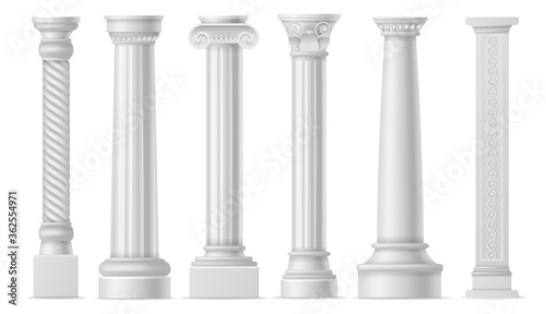 Obraz Antique white columns. Roman historical stone pillars, marble pillar ancient greece architecture, classic column art objects vector set - fototapety do salonu