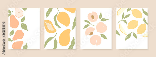 Stylish cover designs with summer fruits. Vector templates for postcards, print, posters, brochures, etc. Trendy hand drawn illustration. - 362558140