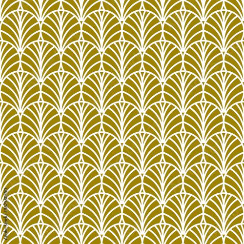 Golden fan art deco pattern Wall mural
