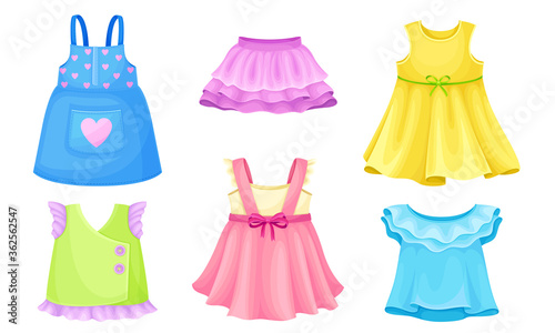 Fotografija Bright Seasonal Clothes for Girls with Sleeveless Dress and Flared Skirt Vector