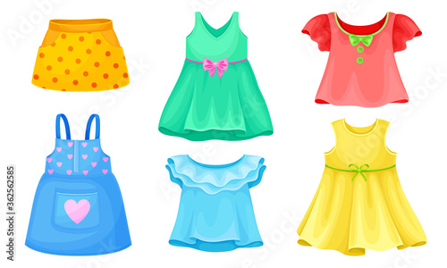 Bright Seasonal Clothes for Girls with Sleeveless Dress and Flared Skirt Vector Slika na platnu
