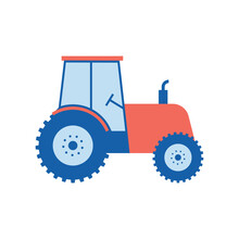 Red Tractor Isolated On White ...