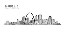 Cityscape Building Abstract Simple Shape And Modern Style Art Vector Design - St. Louis City