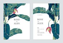 Botanical Wedding Invitation Card Template Design, Hand Drawn Banana Tree