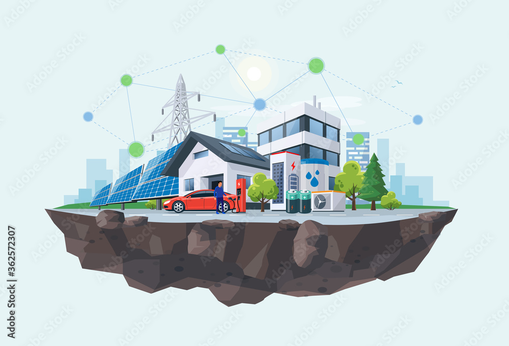 Fototapeta Smart renewable energy power grid system. Off-grid household city battery storage sustainable island electrification. Electric car charging with solar panels, wind, high voltage power grid and city.