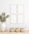 Leinwanddruck Bild - Mock up frame in home interior background, white room with natural wooden furniture, Scandi-Boho style, 3d render