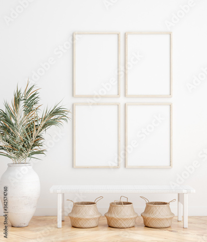Fotografija Mock up frame in home interior background, white room with natural wooden furnit