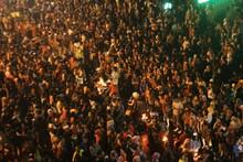 Crowd People Waiting Night Festival In Kediri Eastjava