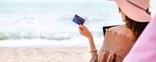 Summer Traveler Asian Woman With Credit Card Mockup Travel In Beach Cafe Thailand