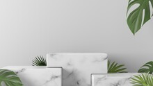 White Marble Box Podium With Leaves In White Background