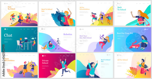 Landing page template with Happy school children joyfully jumping and laughing. Concept of happiness, gladness and fun. Vector illustration for banner