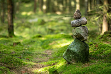Cairn, Stones, Stone, Wood, Undergrowth, Forest, Path, Green, Nature, Wellness, Forest Undergrowth, Tree, Trees, Landmark