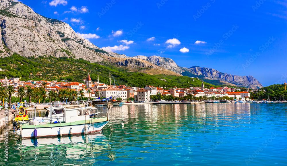 Fototapeta Famous Adriatic coast - Makarska riviera in Dalmatia. Town Makarska, promenade and marine
