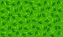 Green Abstract Background With Leaves Pattern,Green Illustration 3D Feeling Background,Green Leaf Illustration Backdrop.