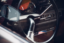Steering Wheel Of Vintage Car