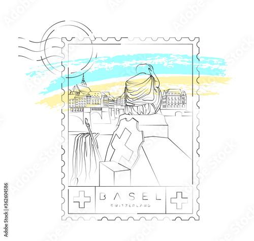 Fotografía Basel stamp, urban vector illustration and typography design, the helvetia statu