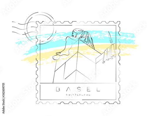 Fotomural Basel stamp, urban vector illustration and typography design, the helvetia statu