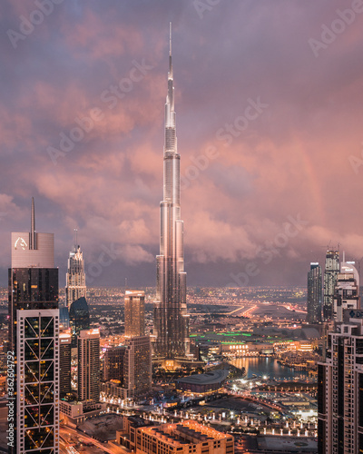 Canvas View Of Burj Khalifa Against Sky During Sunset